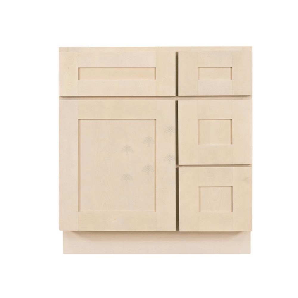 LIFEART CABINETRY Assembled 30 in. x 21 in. x 33 in. Bath Vanity Sink Base Cabinet with 1-Door 2-Right Drawers in Stone Wash
