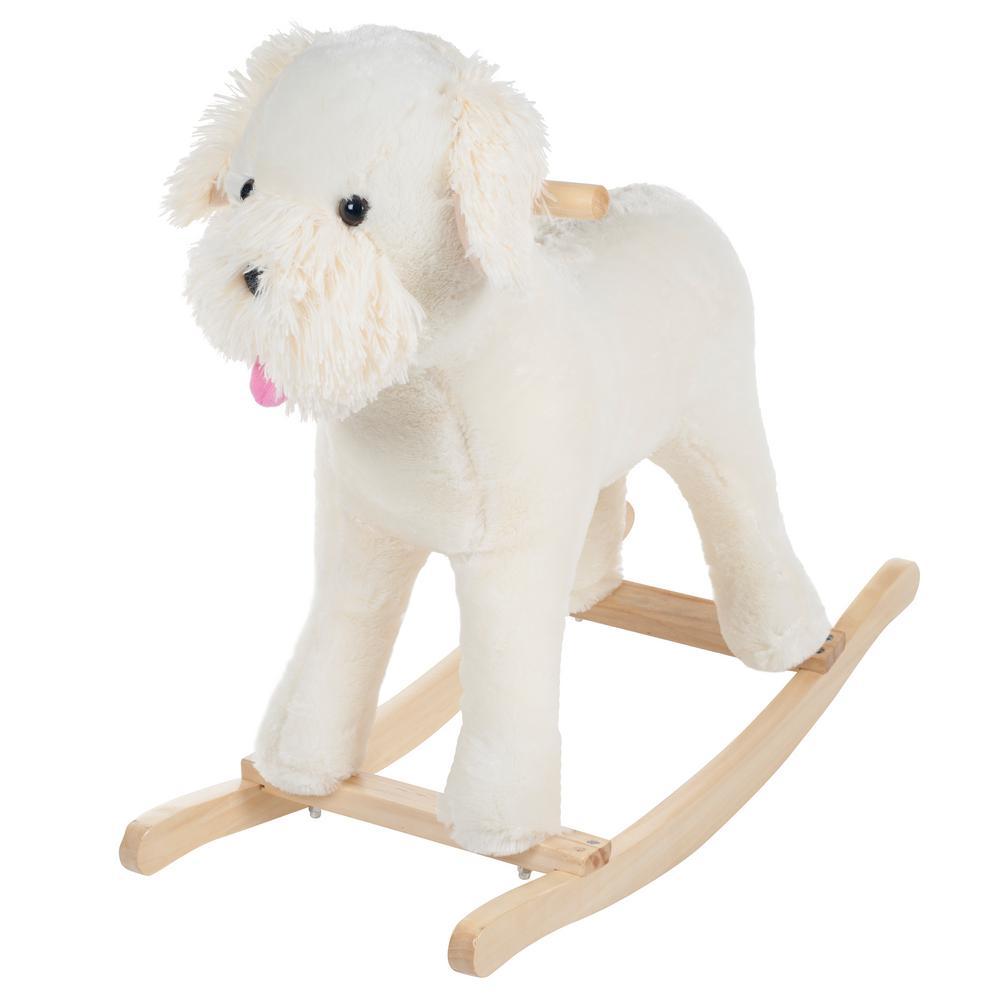 Plush White Rocking Sherman Schnoodle Dog