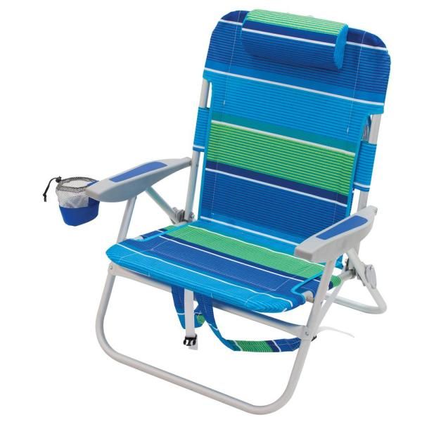 Folding Beach Chairs with Backpack Adults,4-positons Portable Outdoor Chairs Camping Fishing Lightweight with High Seat Back Cup Holder Arms