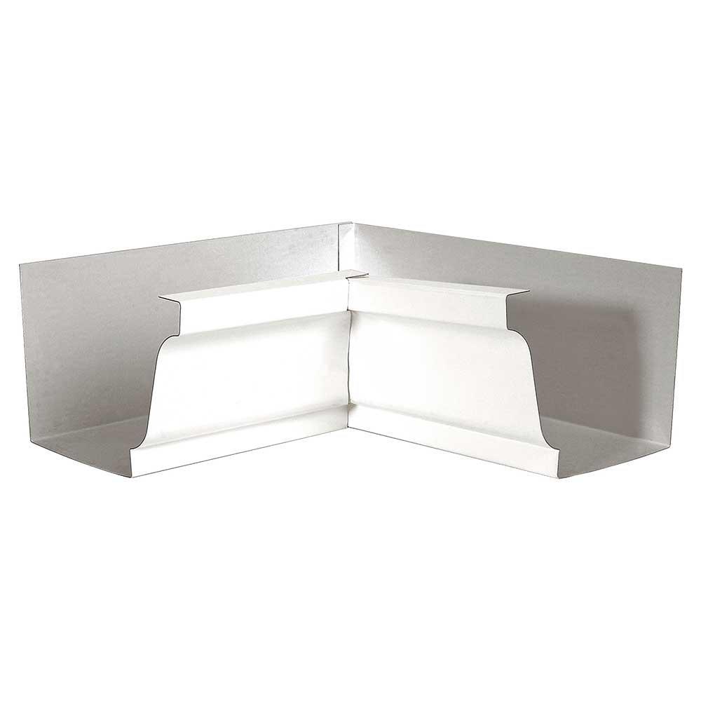 """4/"""" K-Style White Inside Aluminum Gutter Mitre"""