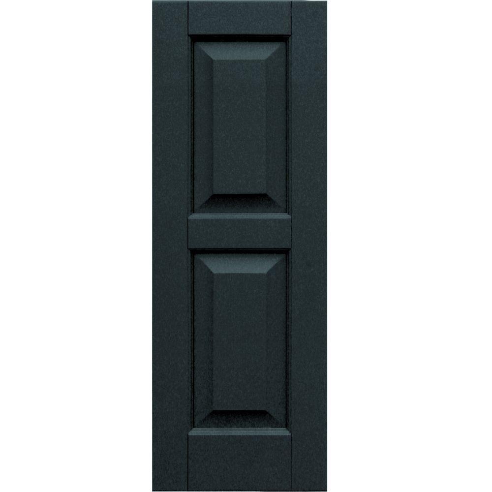 Winworks Wood Composite 12 in. x 34 in. Raised Panel Shutters Pair #632 Black
