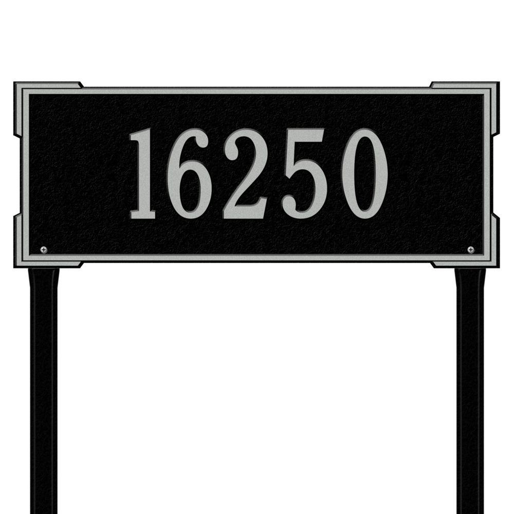 Whitehall Products Rectangular Roanoke Estate Lawn 1-Line Address Plaque - Black/Silver