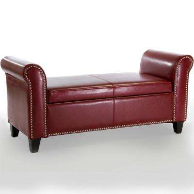 Hemmingway Oxblood Red Bonded Leather Armed Storage Bench with Studs