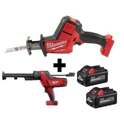 M18 FUEL 18-Volt Lithium-Ion Brushless Cordless HACKZALL Reciprocating Saw & M18 Caulk Gun with Two M18 6.0Ah Batteries