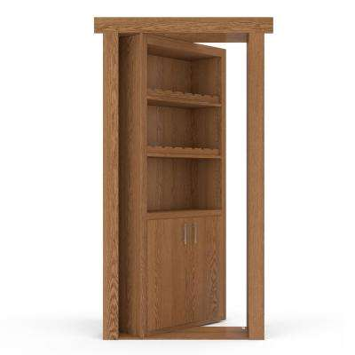 36 in. x 80 in. Flush Mount Assembled Oak Natural Stained Right-Hand Outswing Wine Rack Door