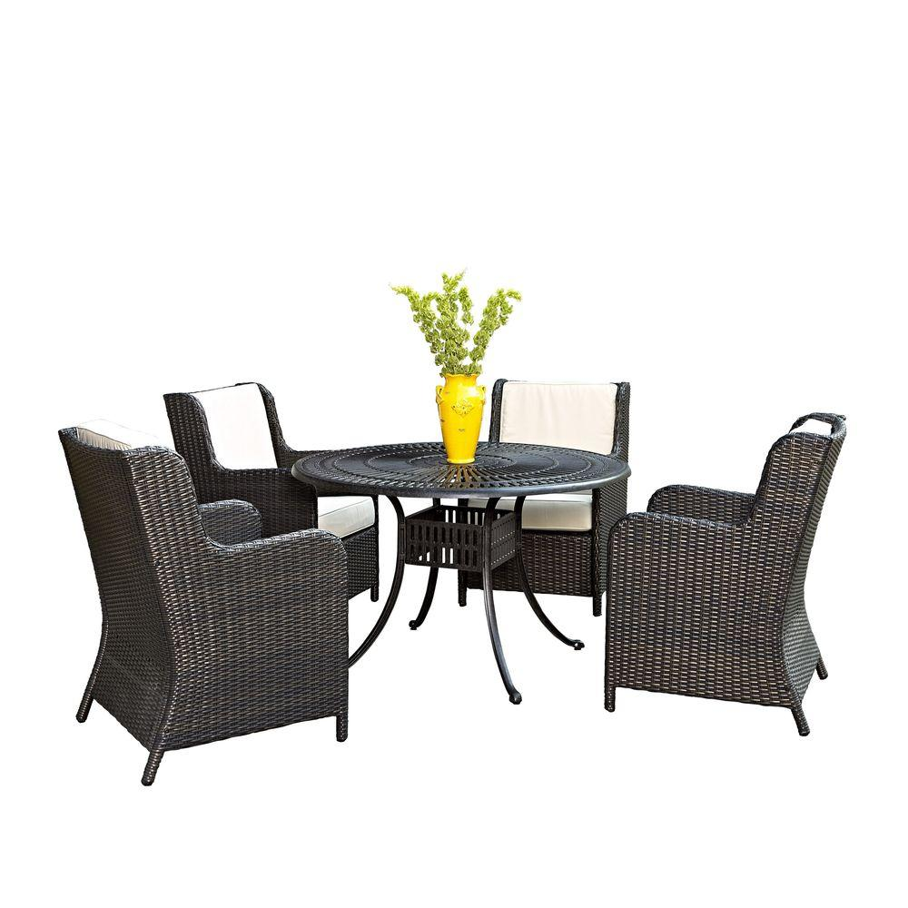 Largo 48 in. 5-Piece Patio Dining Set with Woven Chairs with