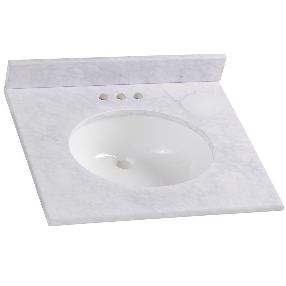 Home Decorators Collection 25 In W X 8 In H X 22 In D Stone Effects Bathroom Vanity Top In Carrera With White Sink Se2522o Ce The Home Depot