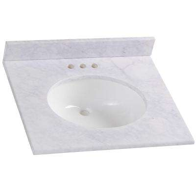 25 in. W x 8 in. H x 22 in. D Stone Effects Bathroom Vanity Top in Carrera with White Sink
