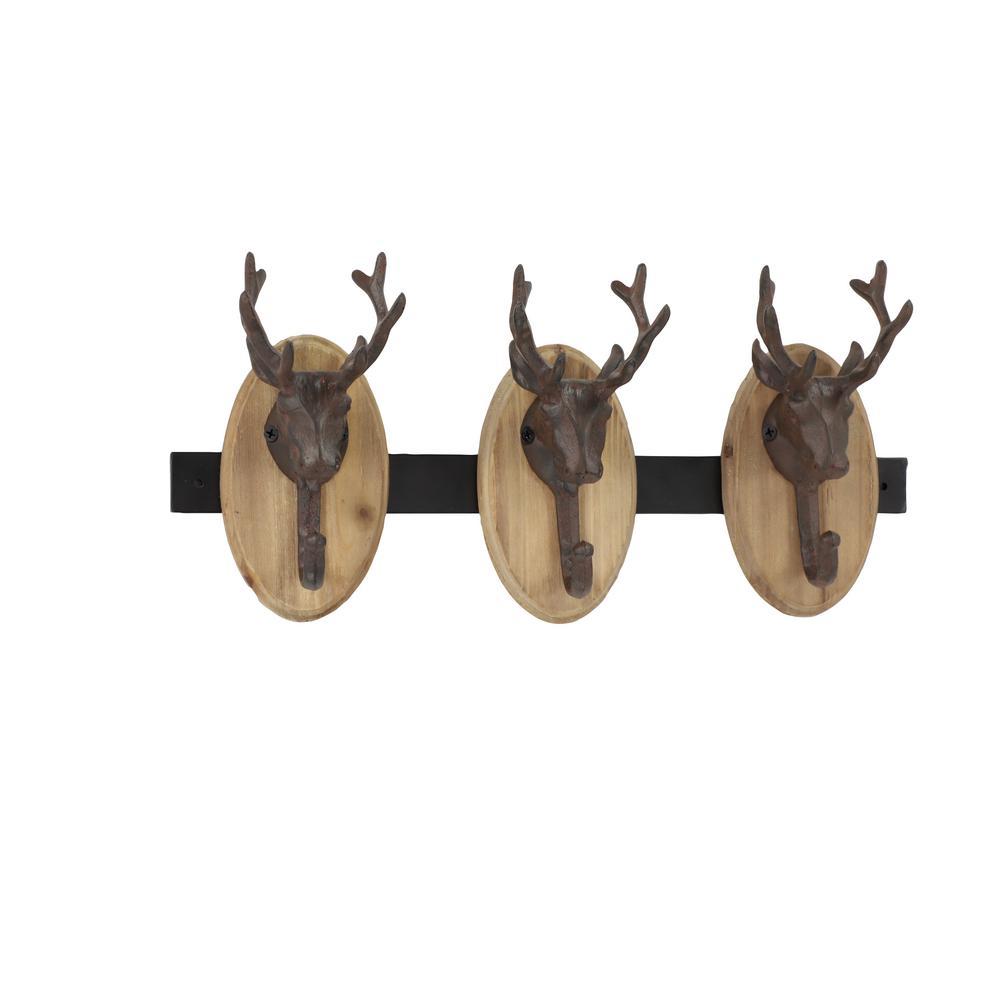Litton Lane Black Metal and Beige Wood Deer Decorative Wall Rack