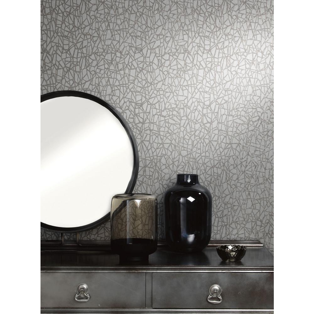 Grey Metallic Web Wallpaper