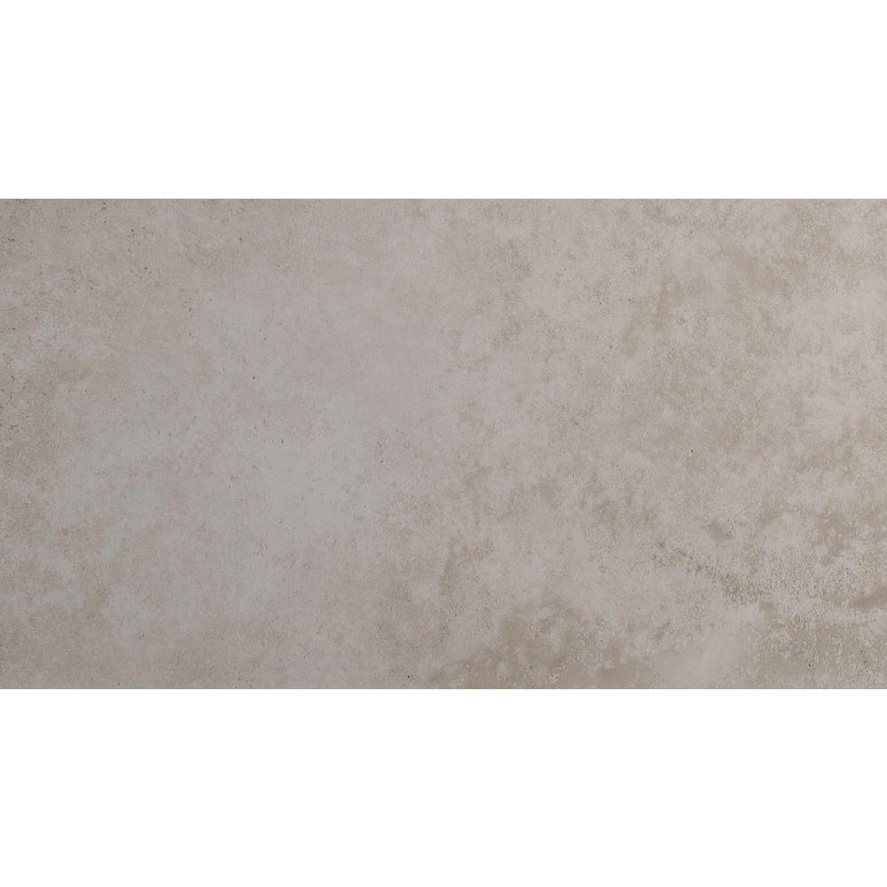 Estrada Ivory 12 in. x 24 in. Glazed Ceramic Floor and