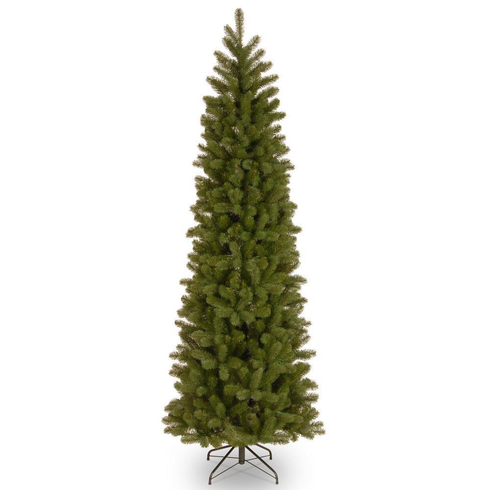 9 ft. Feel-Real Downswept Douglas Pre-Lit Slim Artificial Christmas Tree