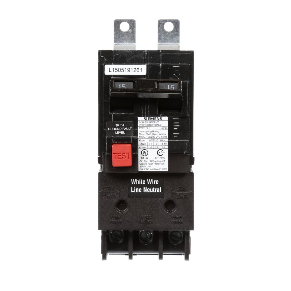 15 Amp Double Pole 10 kA Type BLE GFI Circuit Breaker