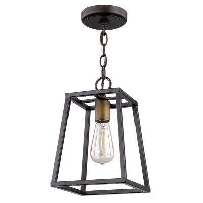 Tiberton 1-Light Oil-Rubbed Bronze Pendant with Antique Brass Socket