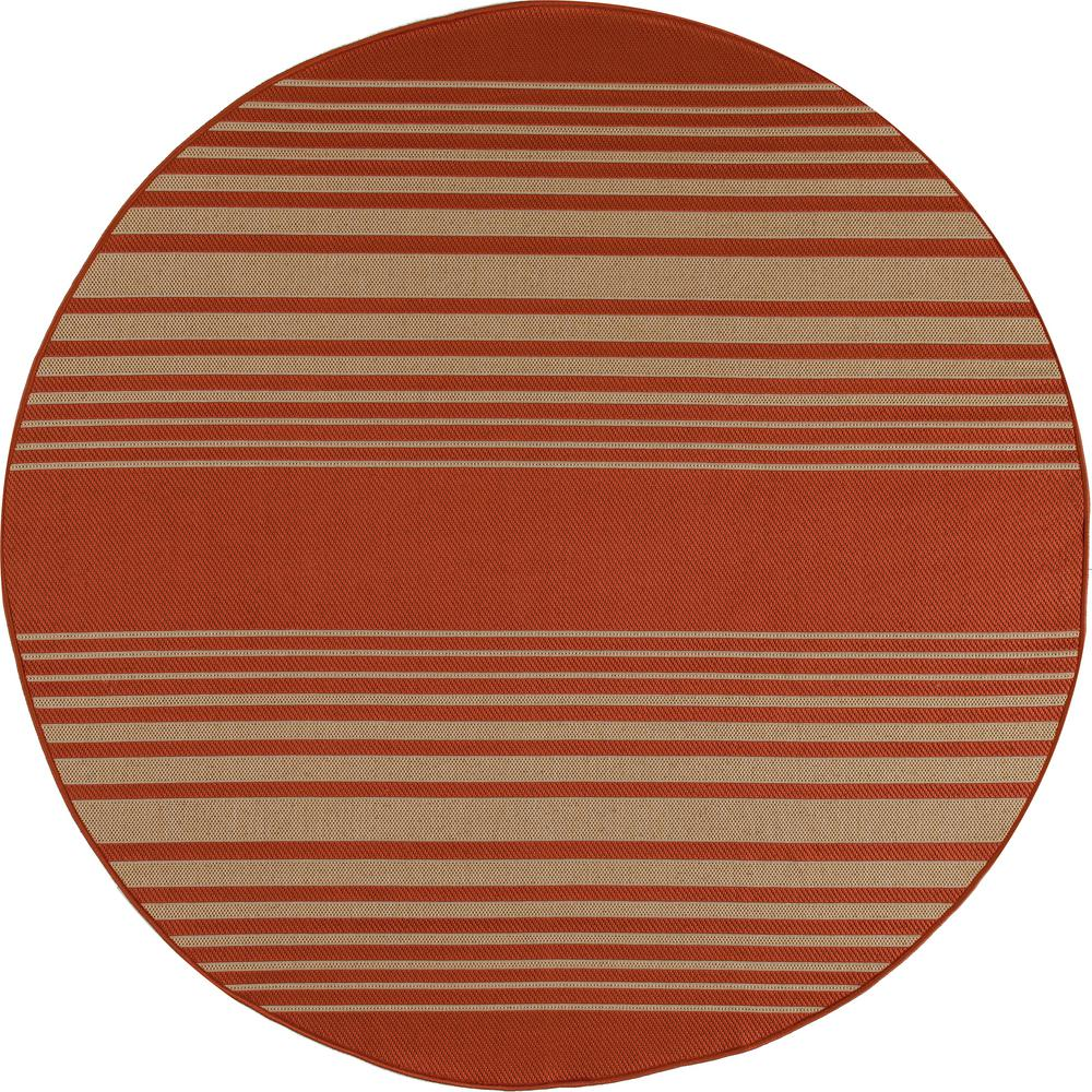 Art Carpet Plymouth Nautical Red 8 Ft X 8 Ft Round Indoor Outdoor