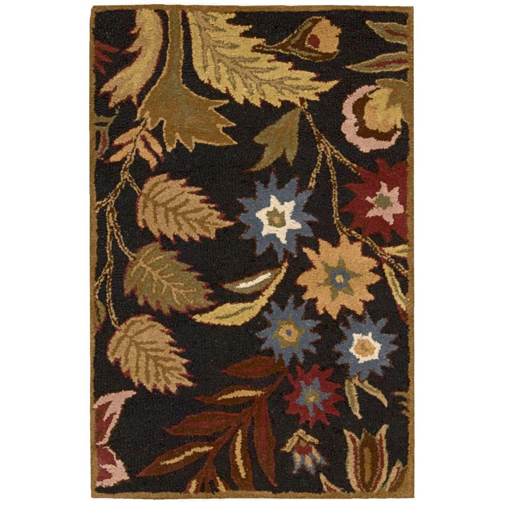 Nourison Overstock In Bloom Black 2 ft. 6 in. x 4 ft. Accent Rug