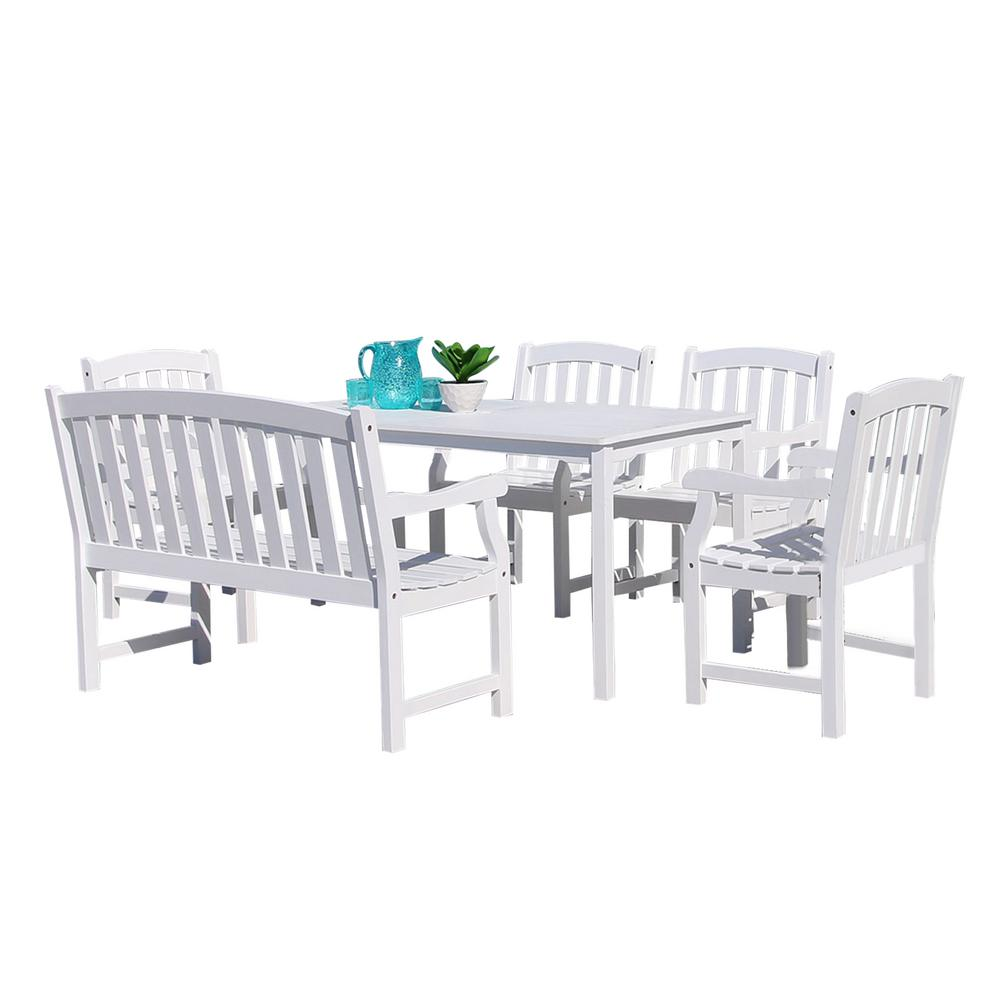 Vifah Bradley Wood 6-Piece Outdoor Dining Set with 4 ft. Bench
