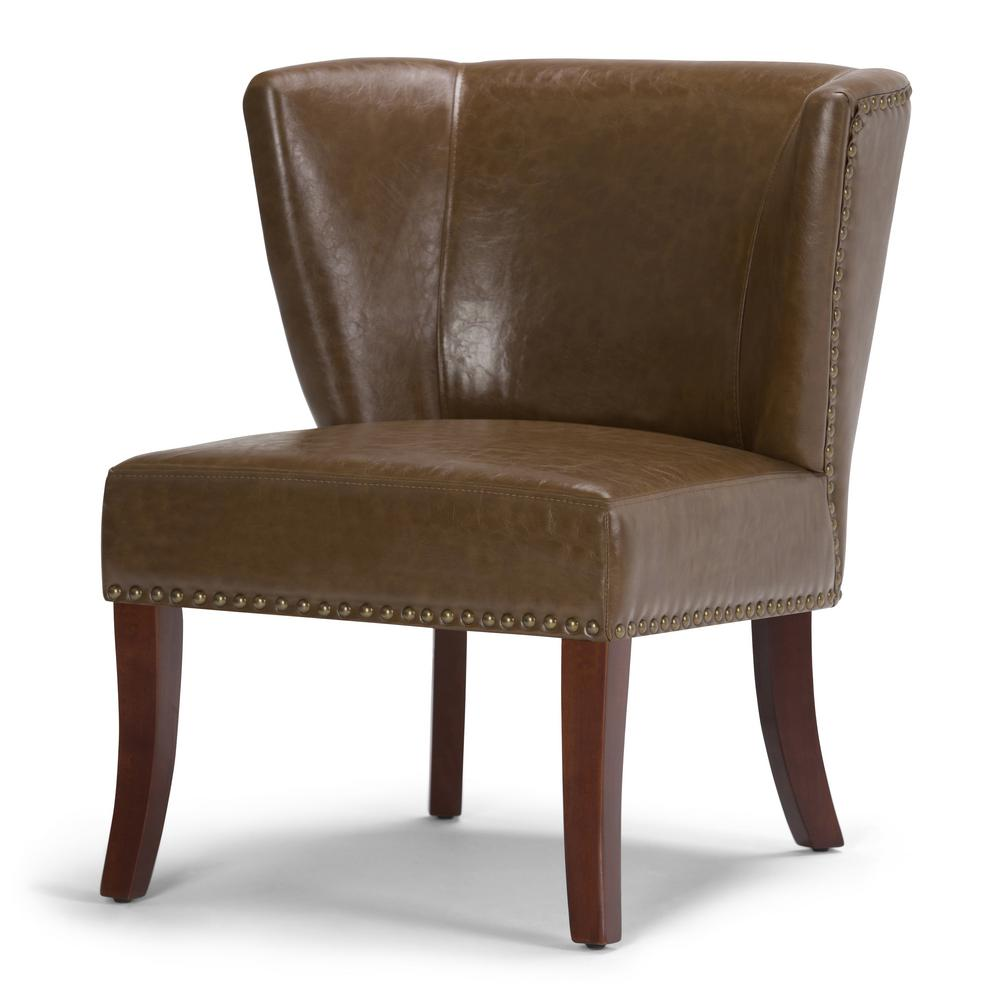 Accent Chair Raybrown: Simpli Home Jamestown Saddle Brown Bonded Leather Accent