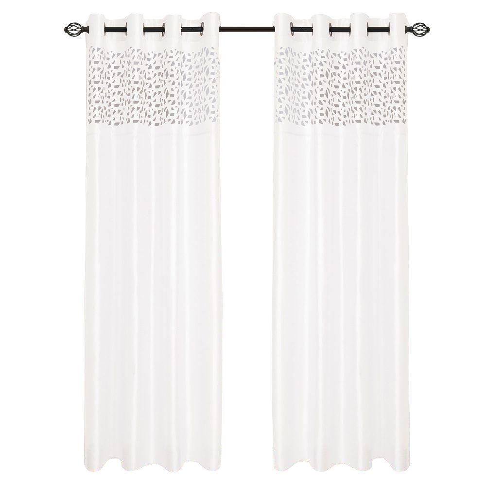 White Karla Laser-Cut Grommet Curtain Panel, 108 in. Length