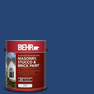 1 gal. #S-H-580 Navy Blue Satin Interior/Exterior Masonry, Stucco and Brick Paint