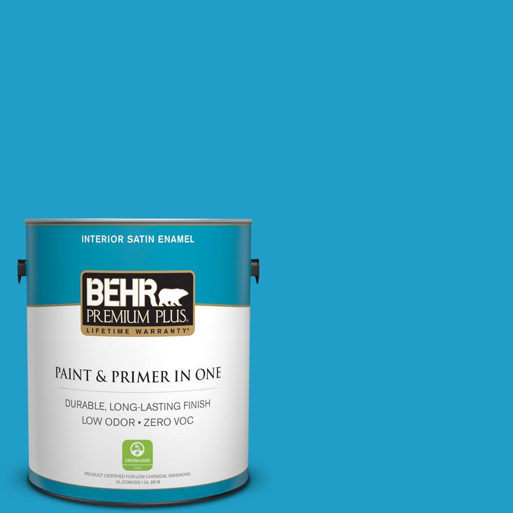 BEHR Premium Plus 1 gal. #P490-5 Yucatan Satin Enamel Zero VOC Interior Paint and Primer in One