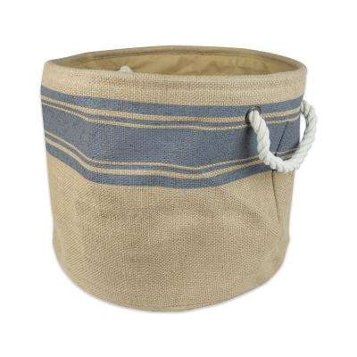 Round Burlap Bordered Decorative Bin