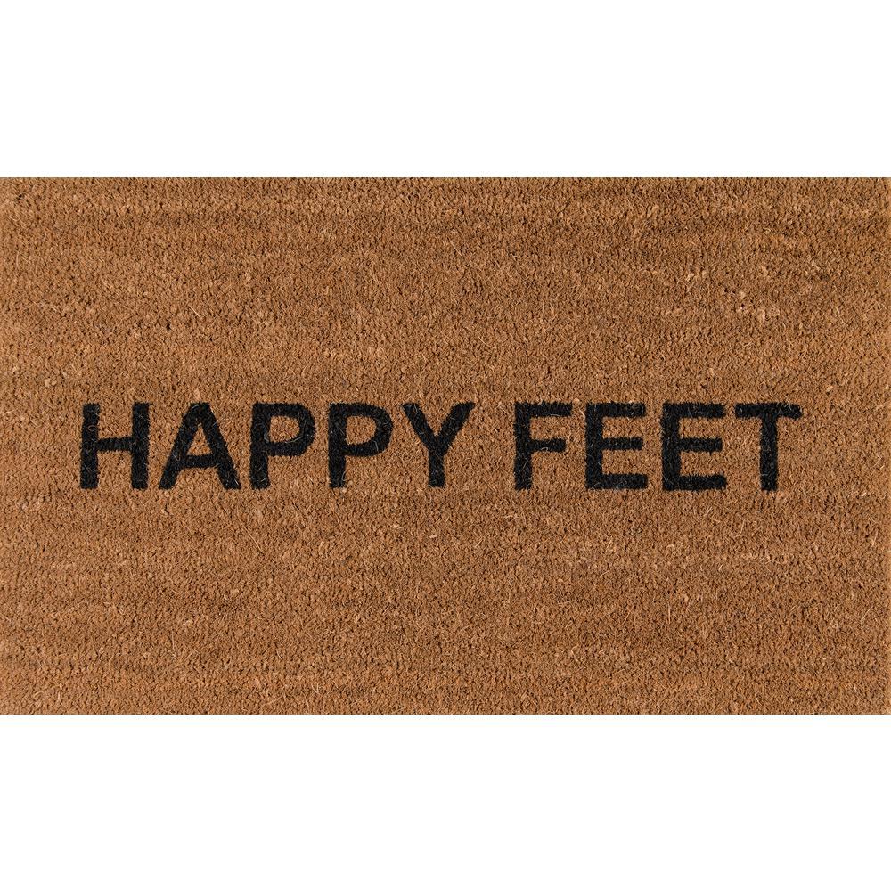 Happy Feet Natural 18 in. x 30 in. Door Mat