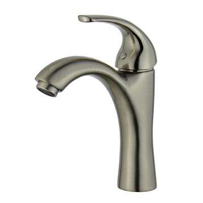 Seville Single Hole Single-Handle Bathroom Faucet with Overflow Drain in Brushed Nickel