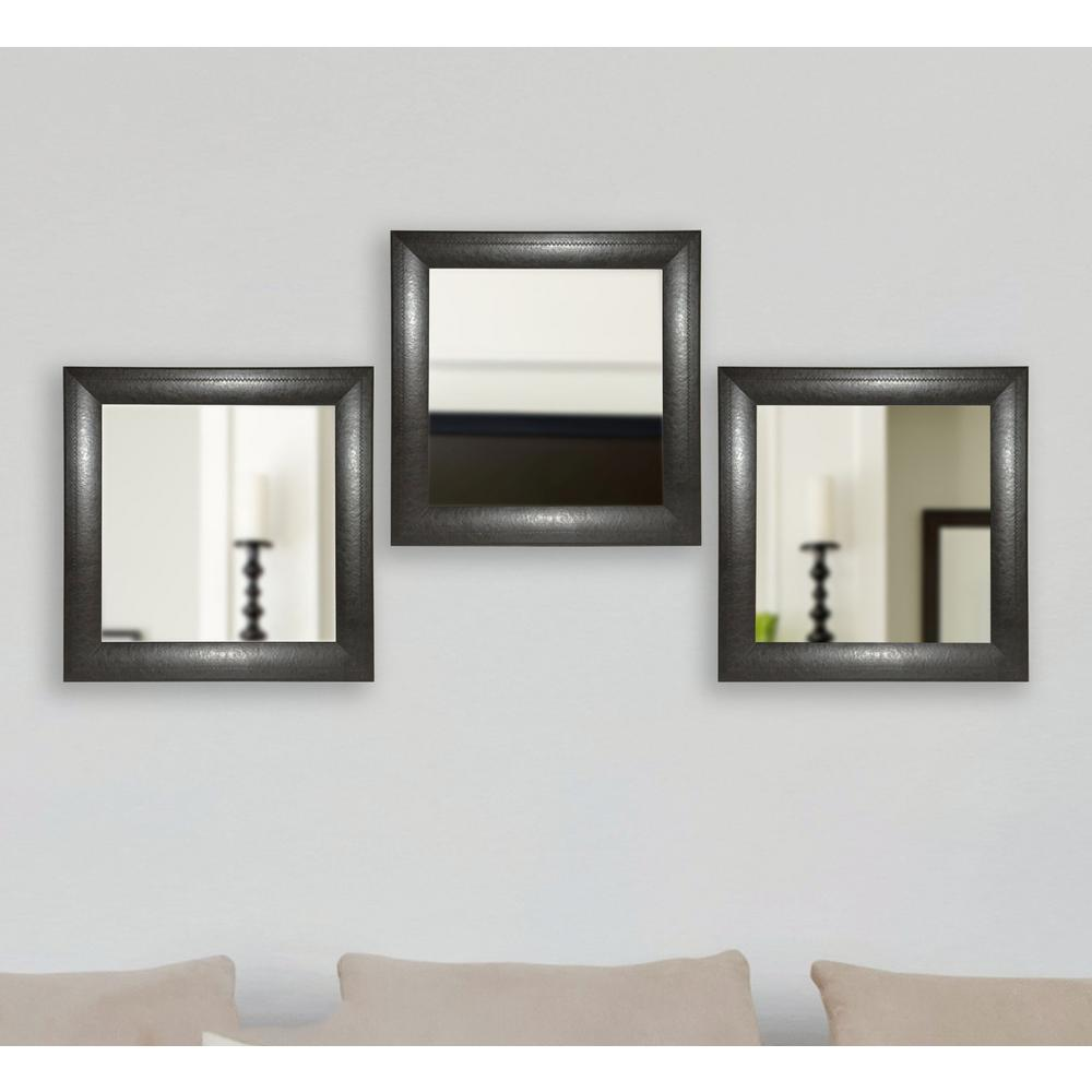 2175 In X 2175 In Espresso Leather Square Wall Mirrors Set Of 3