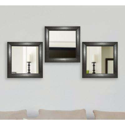21.75 in. x 21.75 in. Espresso Leather Square Wall Mirrors (Set of 3)