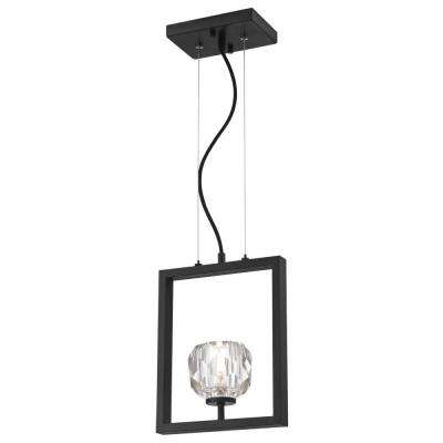 Zoa 1-Light Matte Brushed Gun Metal LED Pendant with Crystal Glass Shade