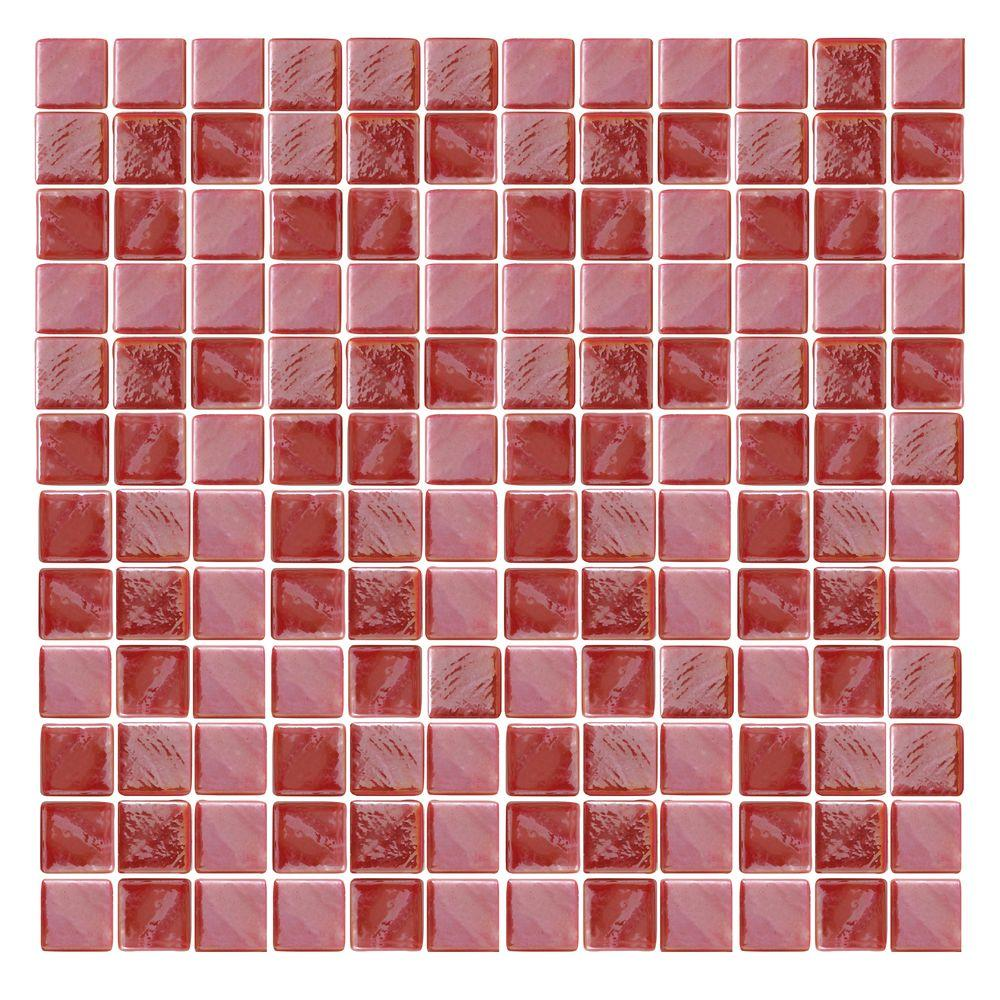 Epoch Architectural Surfaces Irridecentz I-Red-1415 Mosaic Recycled Glass 12 in. x 12 in. Mesh Mounted Tile (5 sq. ft. / case)