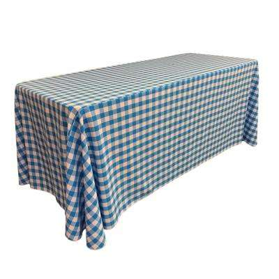 """90 in. x 156 in. White and Turquoise Polyester Gingham Checkered Rectangular Tablecloth"""
