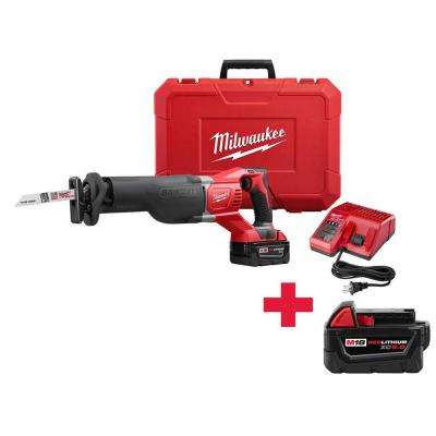 M18 18-Volt Lithium-Ion SAWZALL Cordless Reciprocating Saw W/ Free M18 5.0Ah Battery
