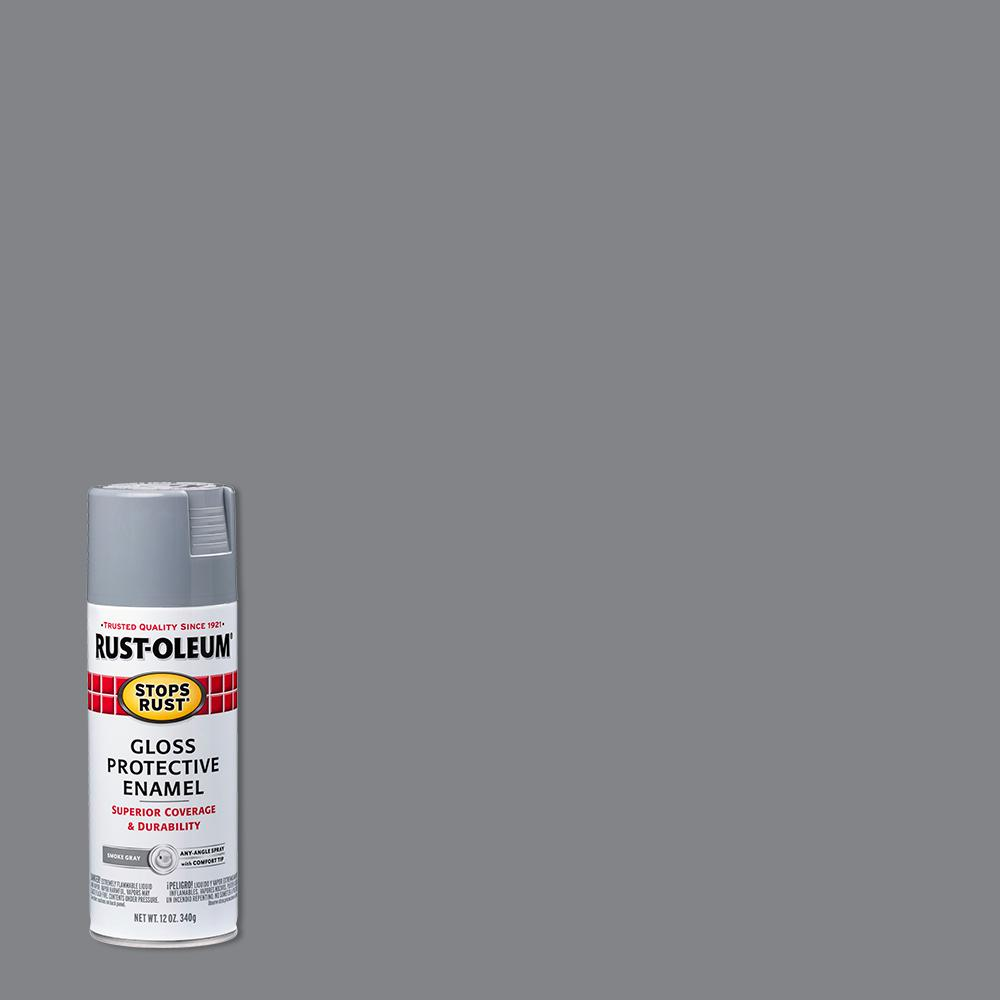 Rust-Oleum Stops Rust 12 oz. Protective Enamel Gloss Smoke Gray Spray Paint (6-Pack)