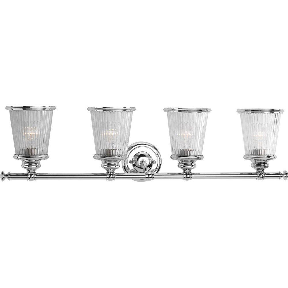 Progress Lighting Radiance Collection 4 Light Polished Chrome Vanity Light With Clear Ribbed