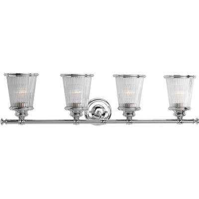 Radiance Collection 4-Light Polished Chrome Bathroom Vanity Light with Glass Shades