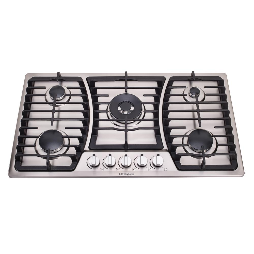 Unique 36 in. Gas Dual Ignition Cooktop in Stainless Steel with 5 Sealed Burners