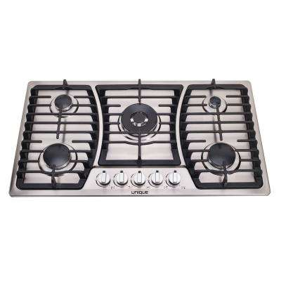 36 in. Gas Dual Ignition Cooktop in Stainless Steel with 5 Sealed Burners