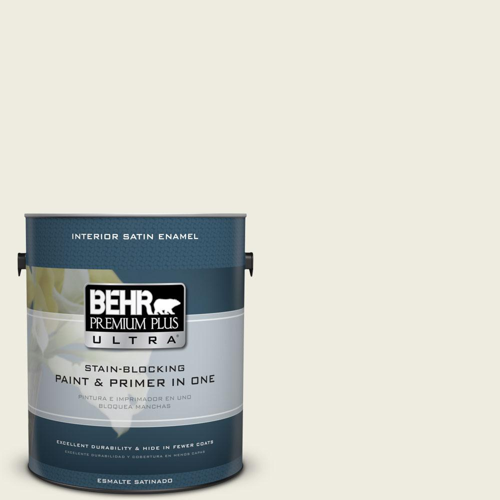 BEHR Premium Plus Ultra 1-gal. #GR-W9 Snowfall White Satin Enamel Interior Paint