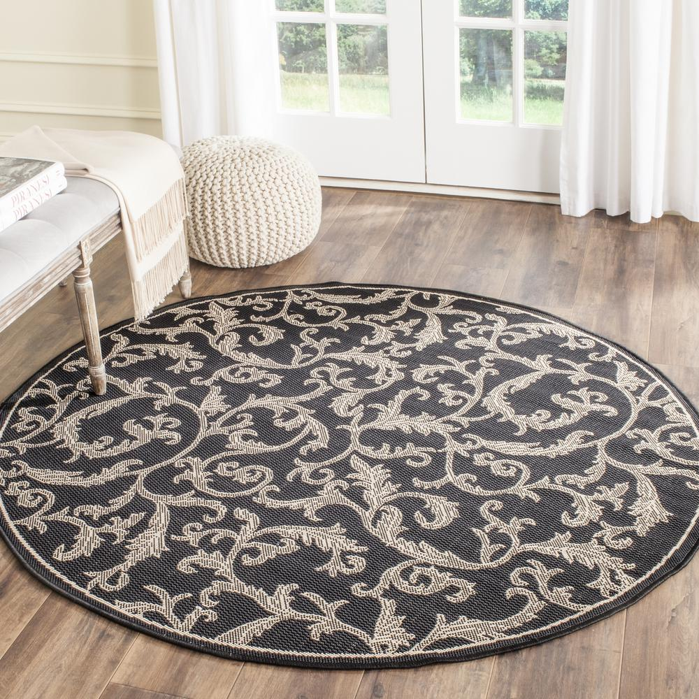 Round Outdoor Rugs For Patios: Safavieh Courtyard Black/Sand 7 Ft. 10 In. X 7 Ft. 10 In