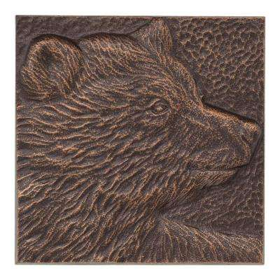 Bear 8 in. x 8 in. Antique Copper Indoor Outdoor Wall Decor