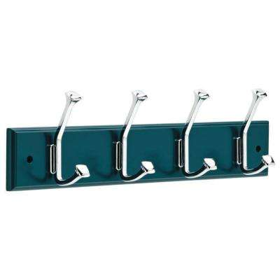 18 in. Blue and Chrome Beveled Square Hook Rack