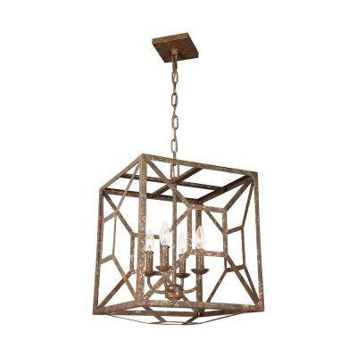 Marquelle 4-Light Distressed Goldleaf Chandelier