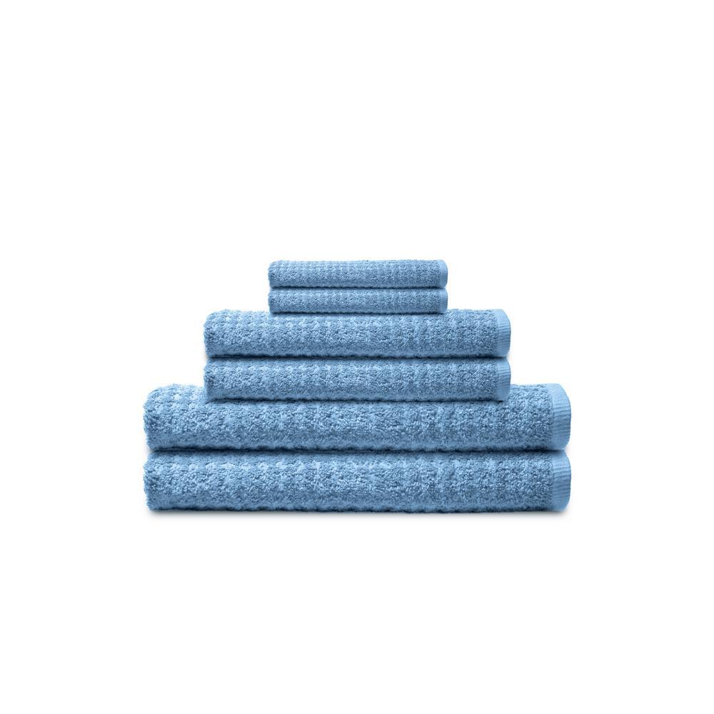 Textured 6-Piece Ocean Blue Solid Bath Towel Set
