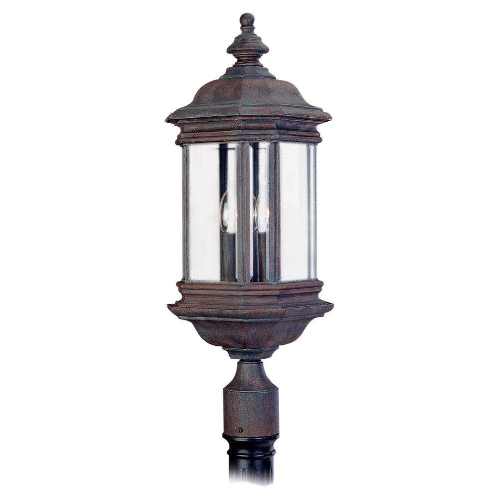 Sea Gull Lighting Hill Gate 3-Light Outdoor Textured Rust Patina Post Top