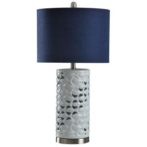 Stylecraft 27 In White Silver Sand Table Lamp With Navy