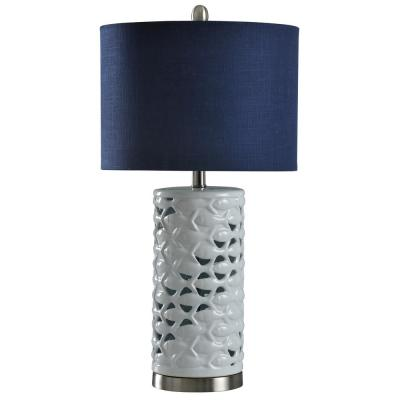 27 in. White/Silver/Sand Table Lamp with Navy Blue Hardback Fabric Shade