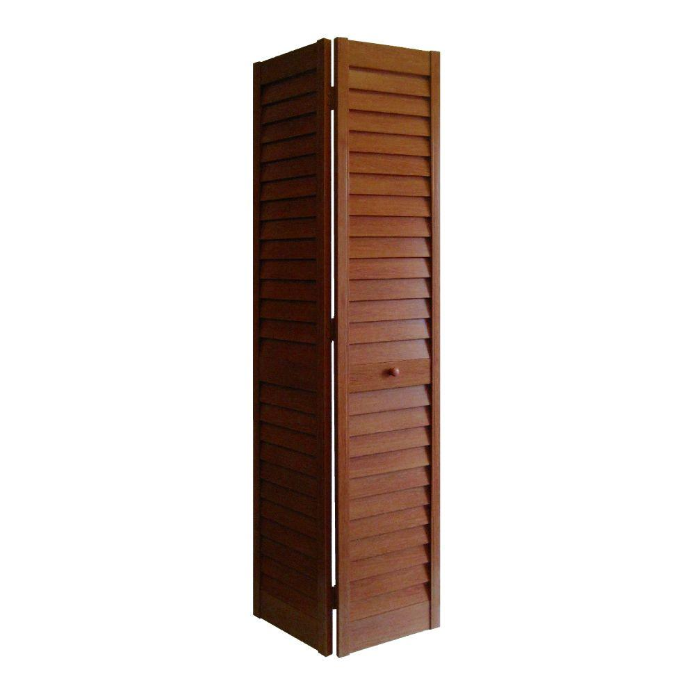 24 in. x 80 in. 3 in. Louver/Louver Cherry PVC Composite