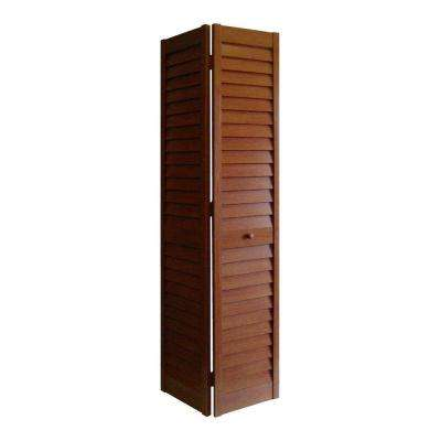24 in. x 80 in. 3 in. Louver/Louver Cherry PVC Composite Interior Bi-fold Door